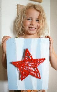red white and blue string art star