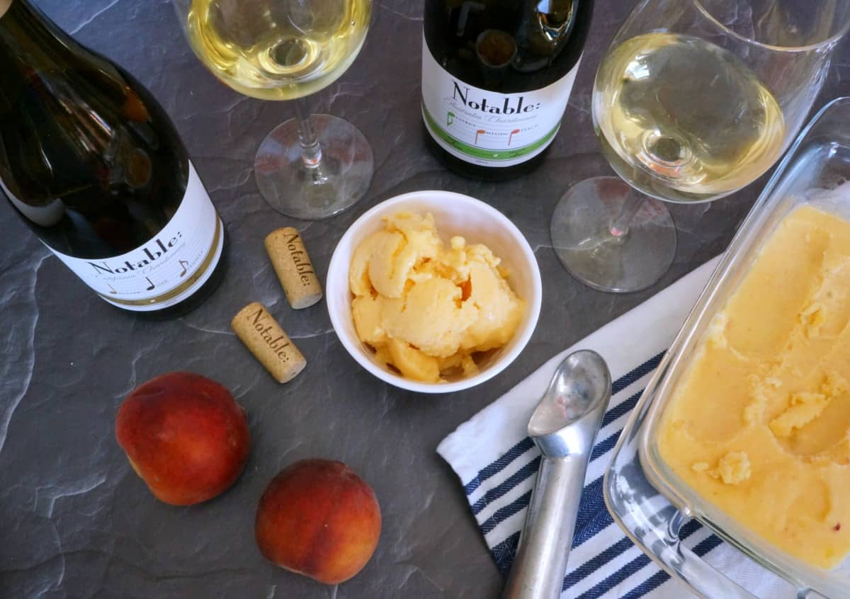 A Notable Wine Tasting Party with Peach Frozen Yogurt