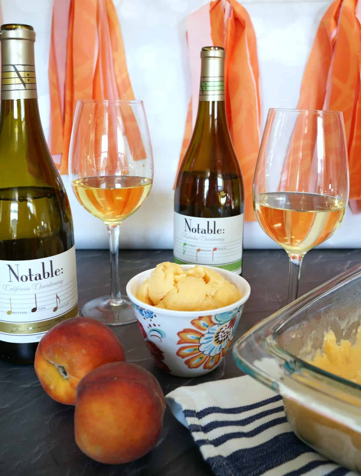 A Simple Wine Tasting Party with Peach Frozen Yogurt