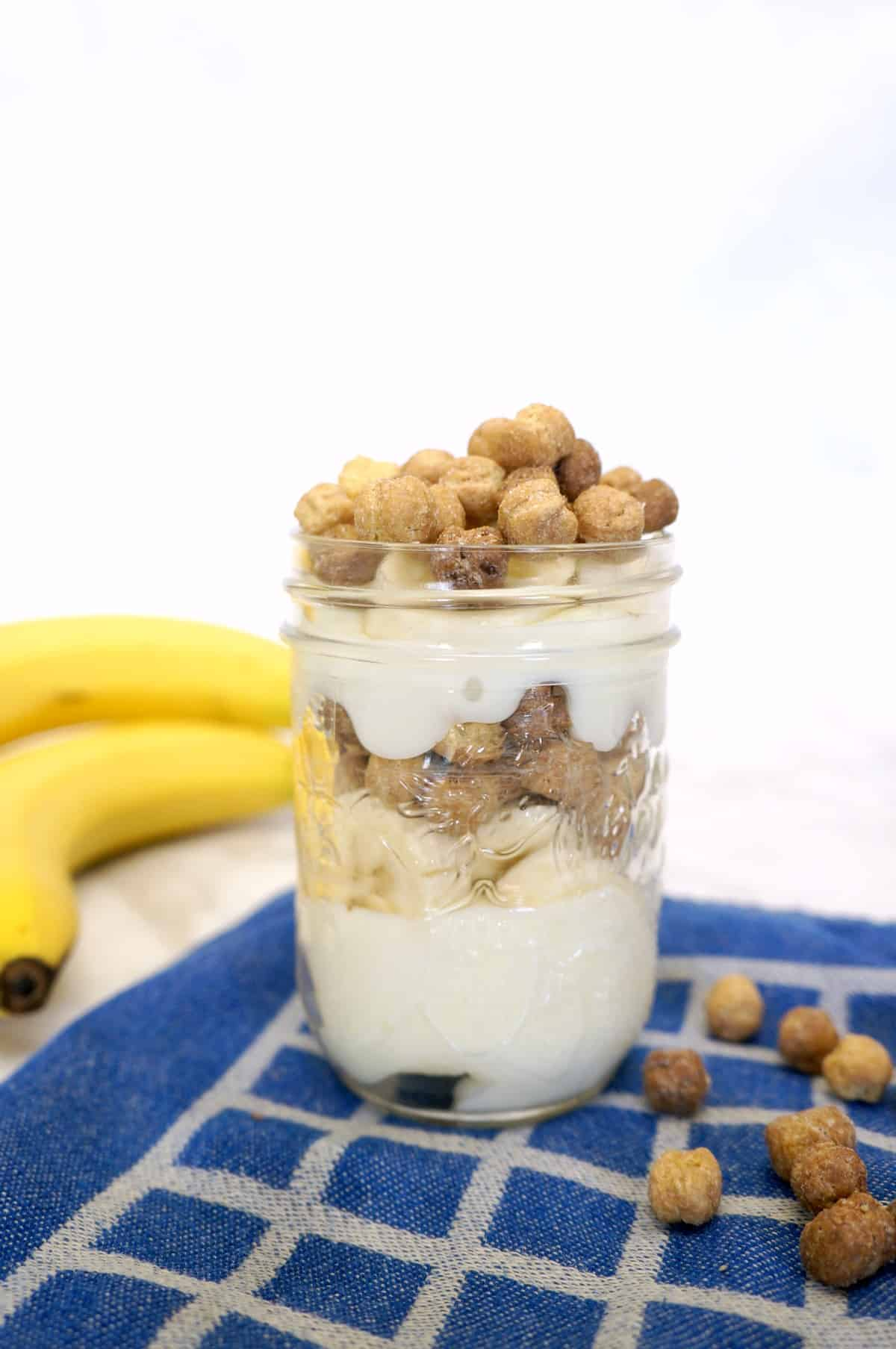 Make Ahead Peanut Butter Banana Yogurt Parfait with Malt-o-Meal cereal. Perfect after school snack that you can make in the morning.