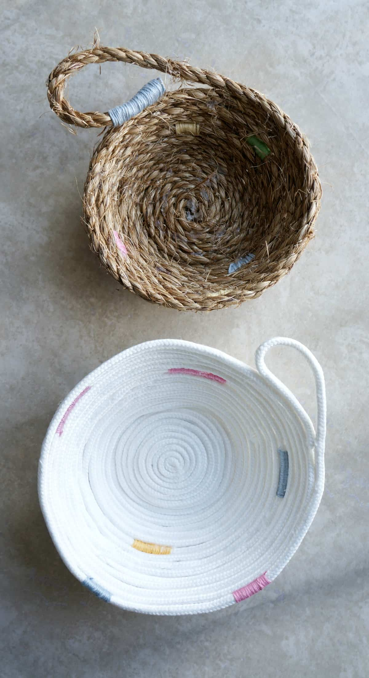 Easy to make no sew rope bowl with pops of color