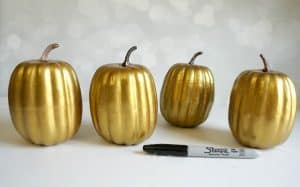 Gold Pumpkins from the Dollar Store