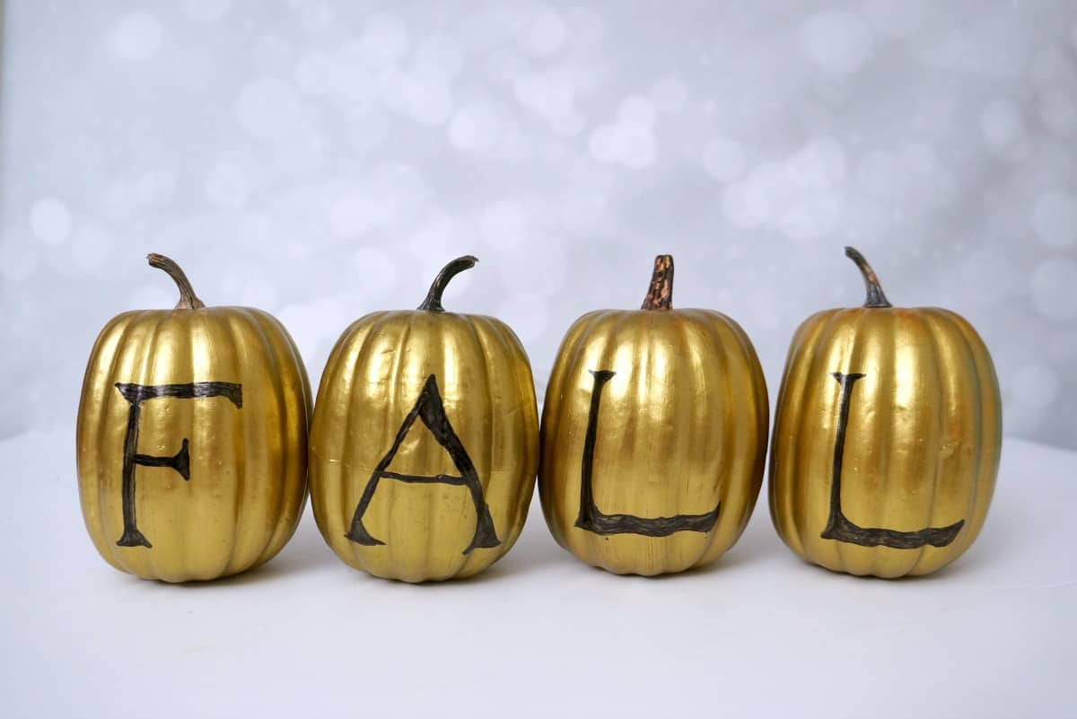 Painted Dollar Store Gold Pumpkins