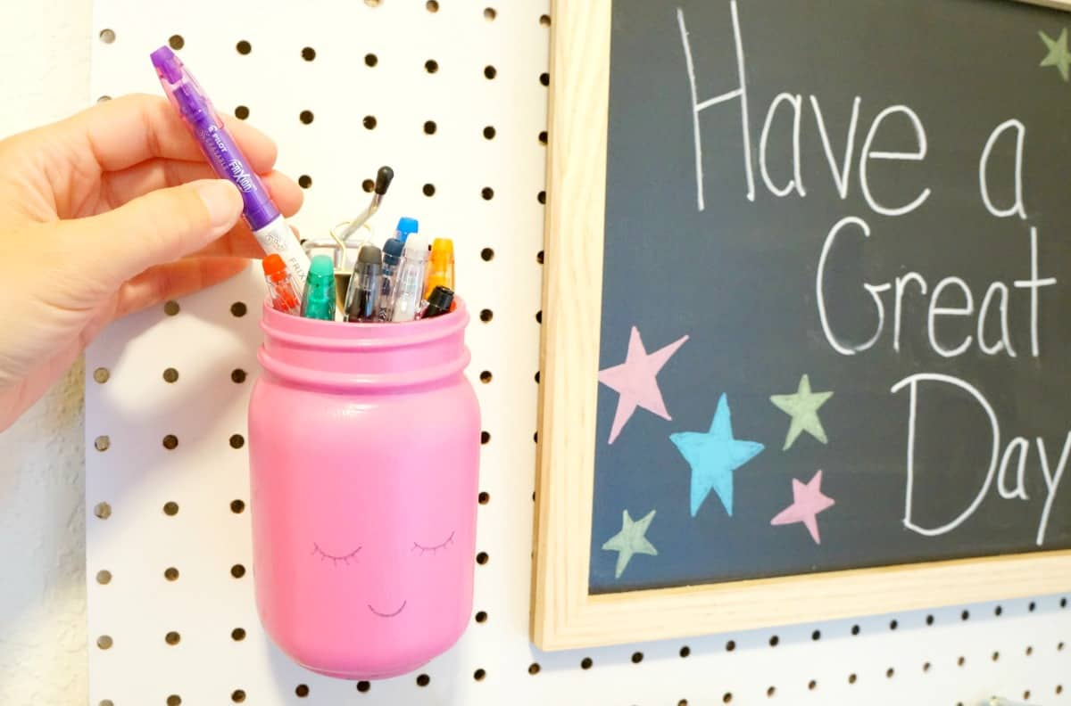 School Command Center and Essential Supplies - pen holder on peg board