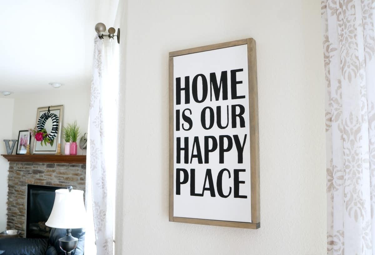 DIY black and white framed canvas art for home