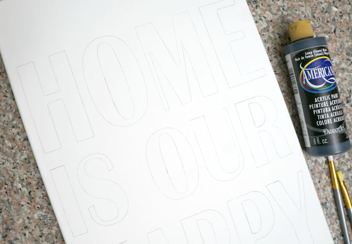 DIY black and white framed canvas art tutorial