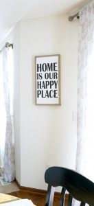 DIY black and white framed canvas. Make your own custom wall art. Home is our happy place.