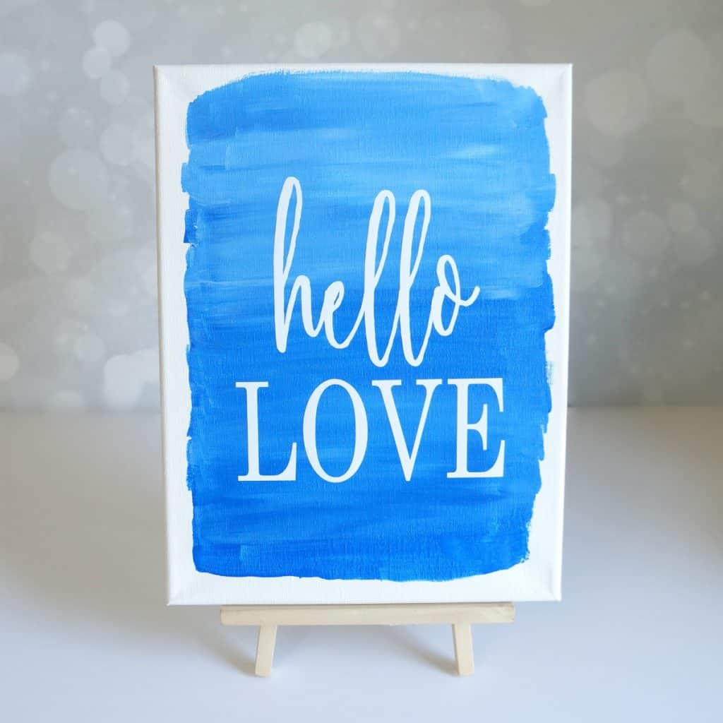 Vinyl on canvas painted sign - Hello Love