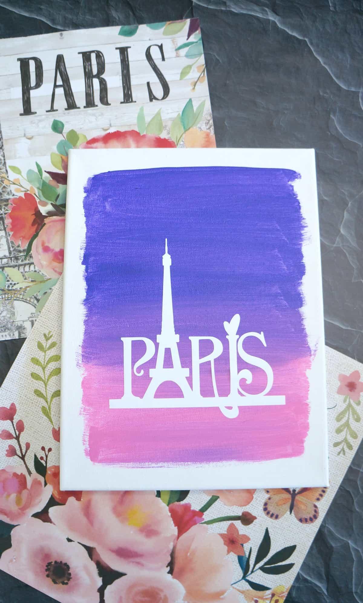 paris canvas art with vinyl on painted canvas