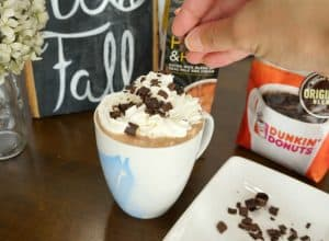 Cafe mocha recipe with whipped cream and chocolate shavings
