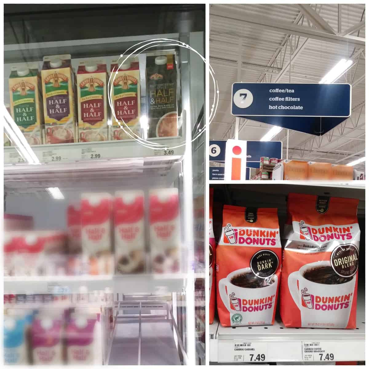 Coffee and creamer at Meijer for cafe mocha recipe
