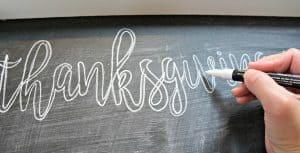 DIY chalkboard Thanksgiving menu board