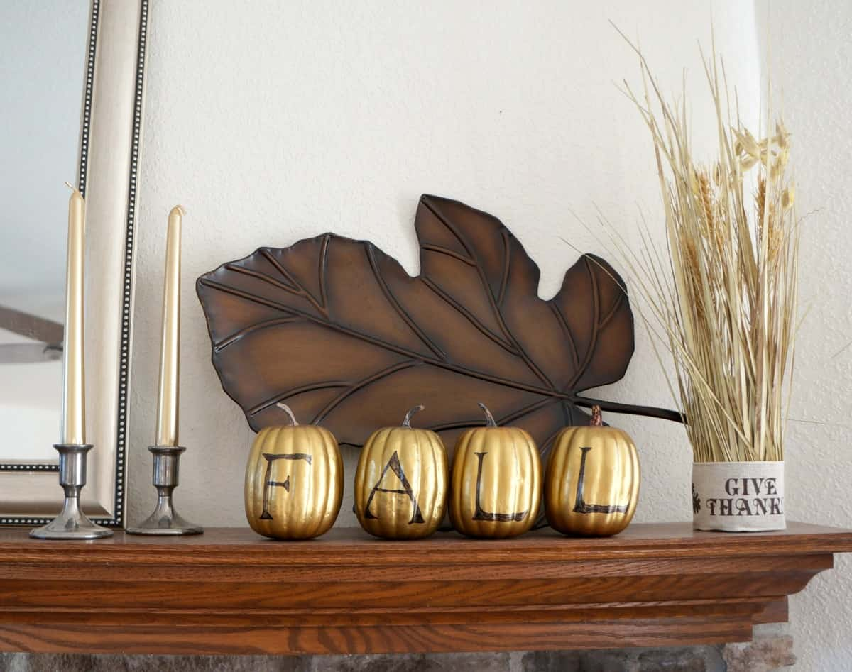 DIY fall mantle with gold accents