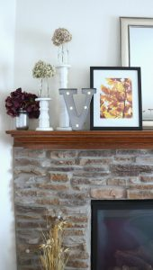 DIY fall mantle with metallic accents