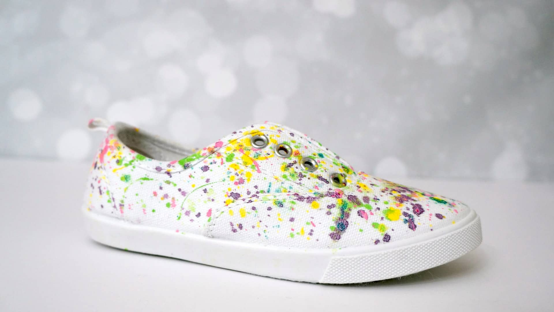 DIY paint splatter canvas shoes tutorial