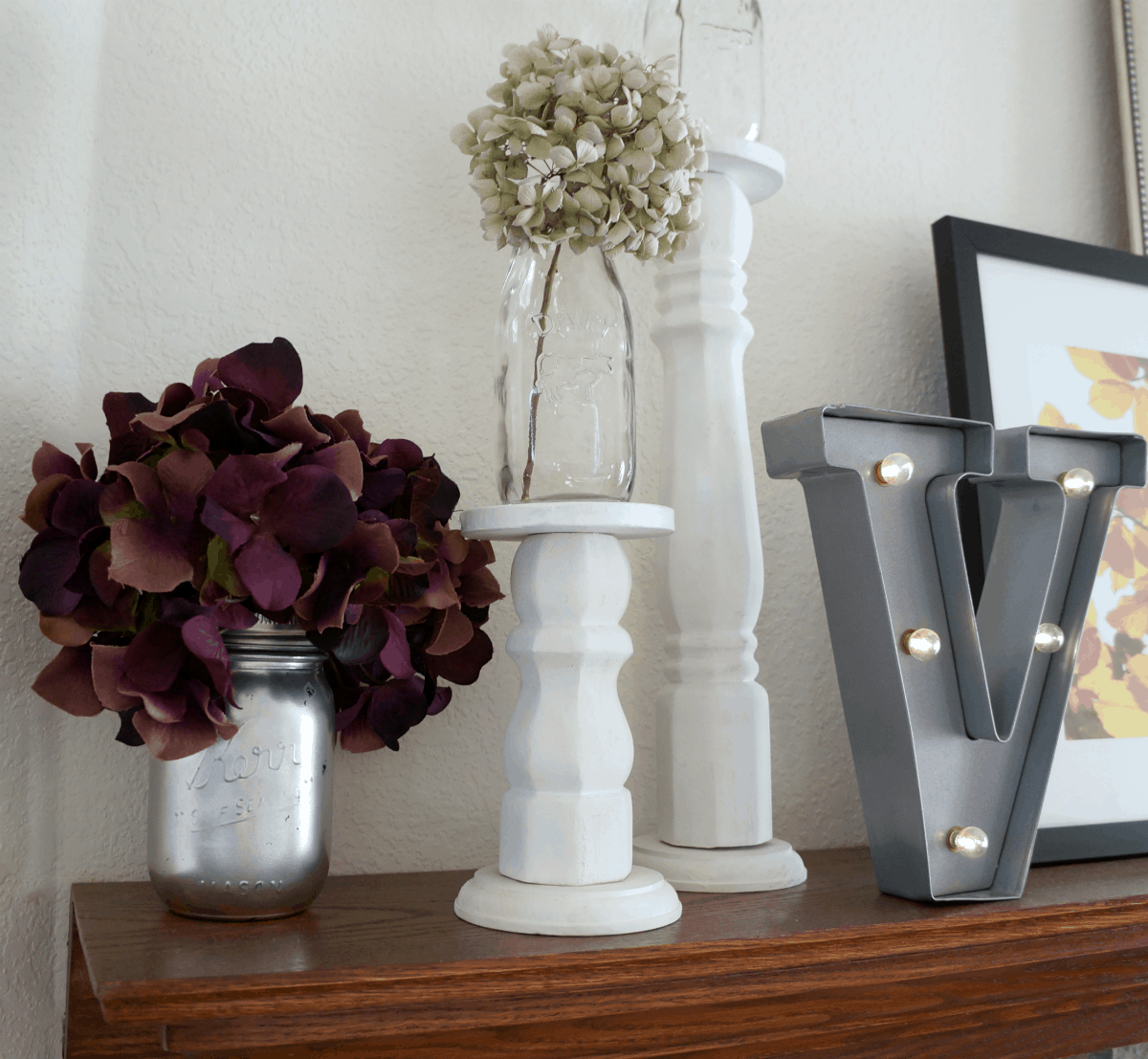 DIy fall mantle with hydrangeas
