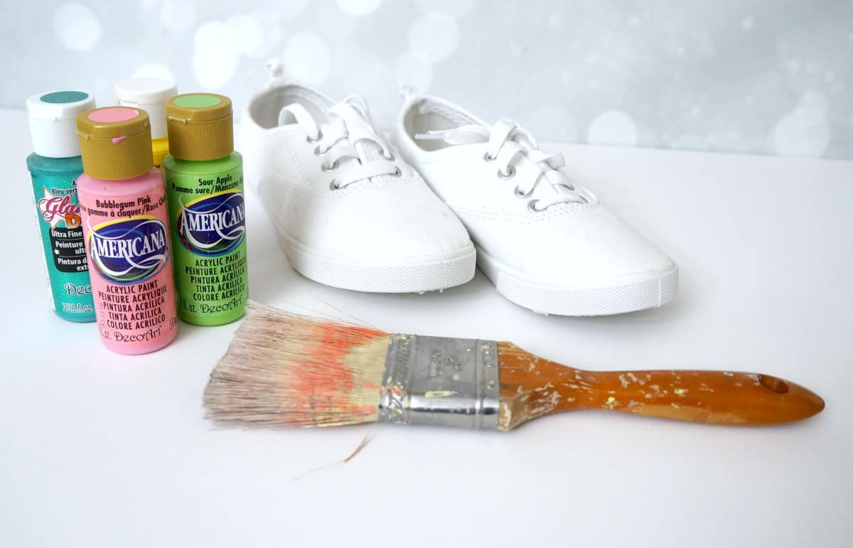 paint splatter canvas shoes supplies