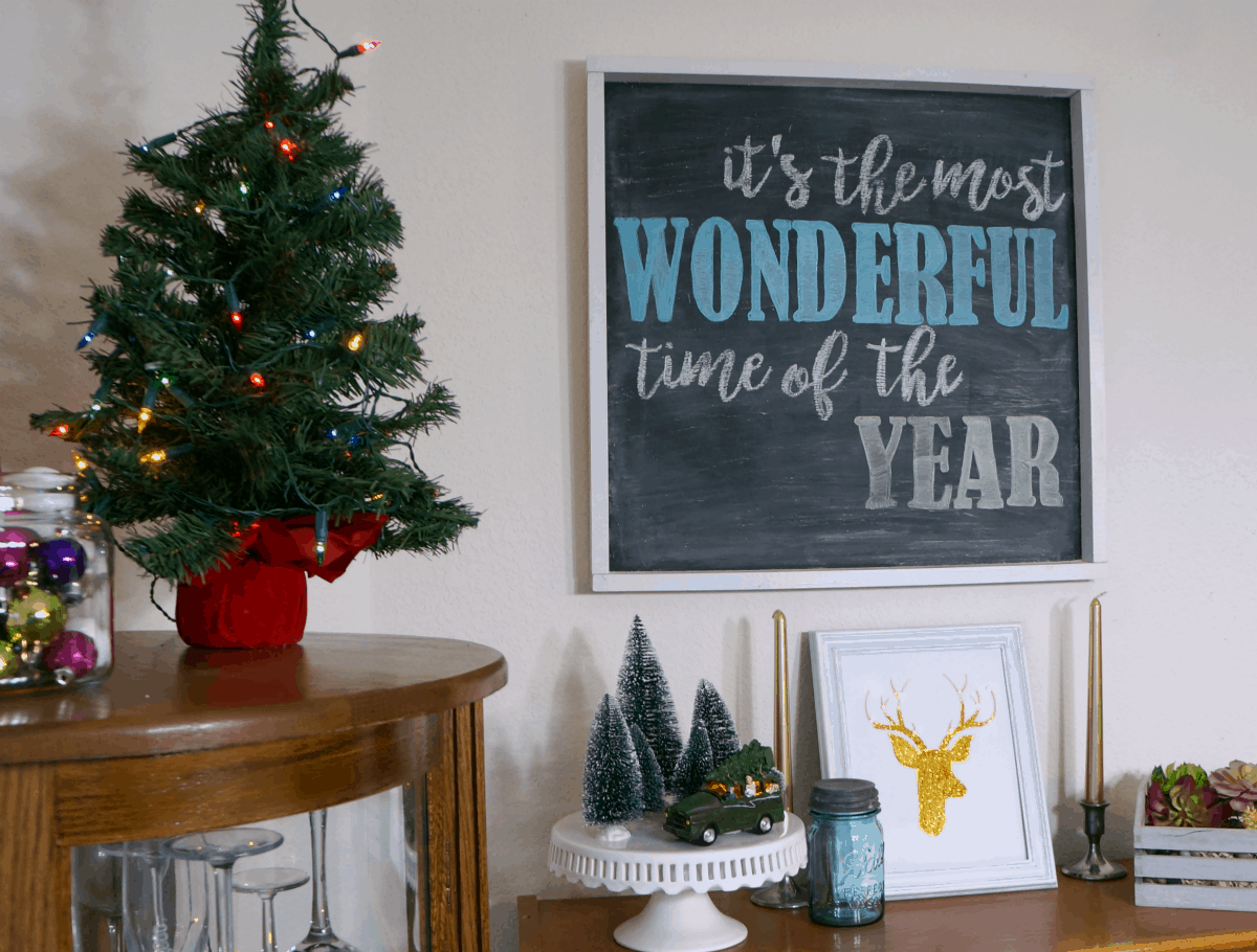 Colorful Christmas decor with reindeer art