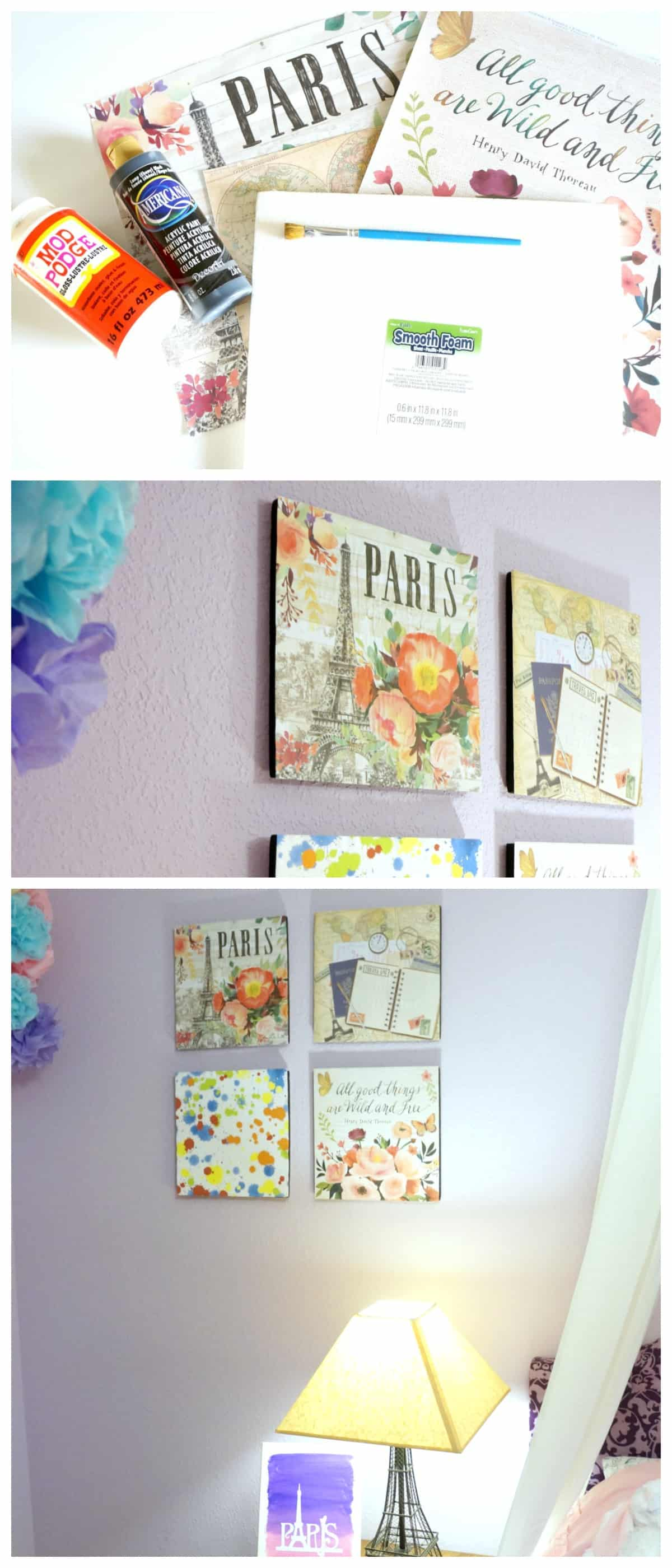 Create a Paris themed bedroom with this easy scrapbook paper wall art