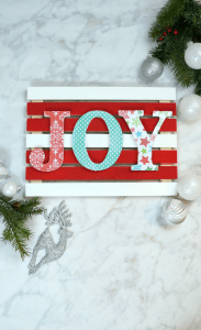 Joy colorful Christmas pallet sign with mod podge letters