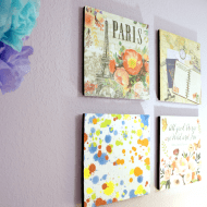 Paris Themed Scrapbook Paper Wall Art