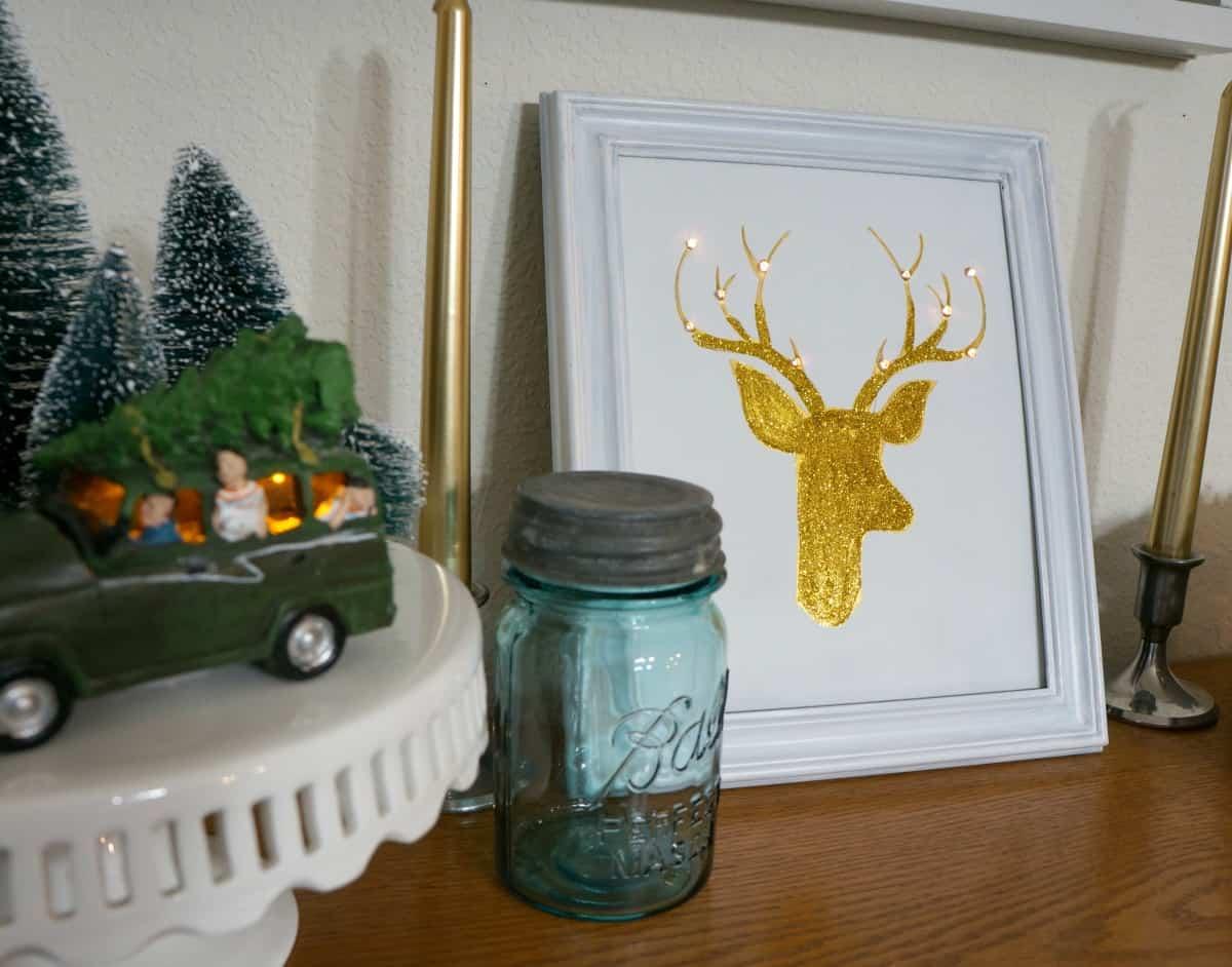 Reindeer art with lights Christmas decor