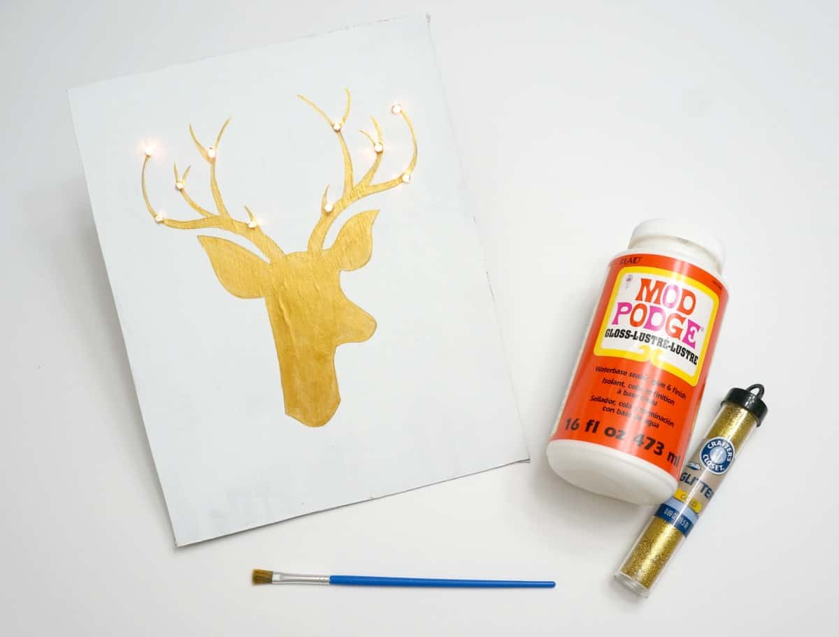 Reindeer art with lights and glitter