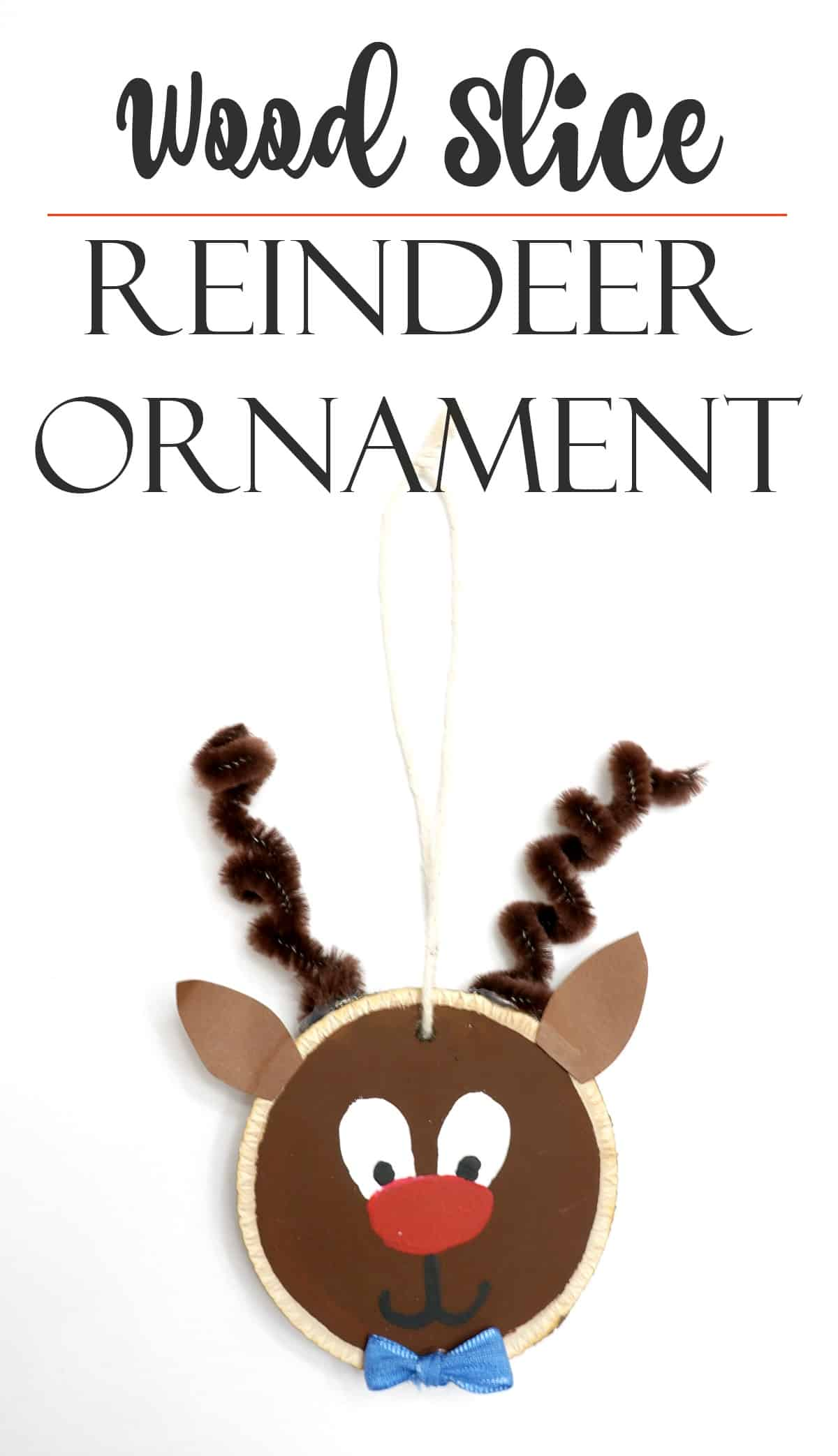 A cute reindeer ornament made with a wood slice