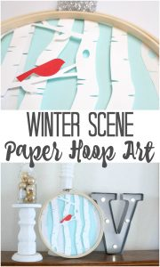 Make this creative winter scene hoop art using paper and a Silhouette cut file.