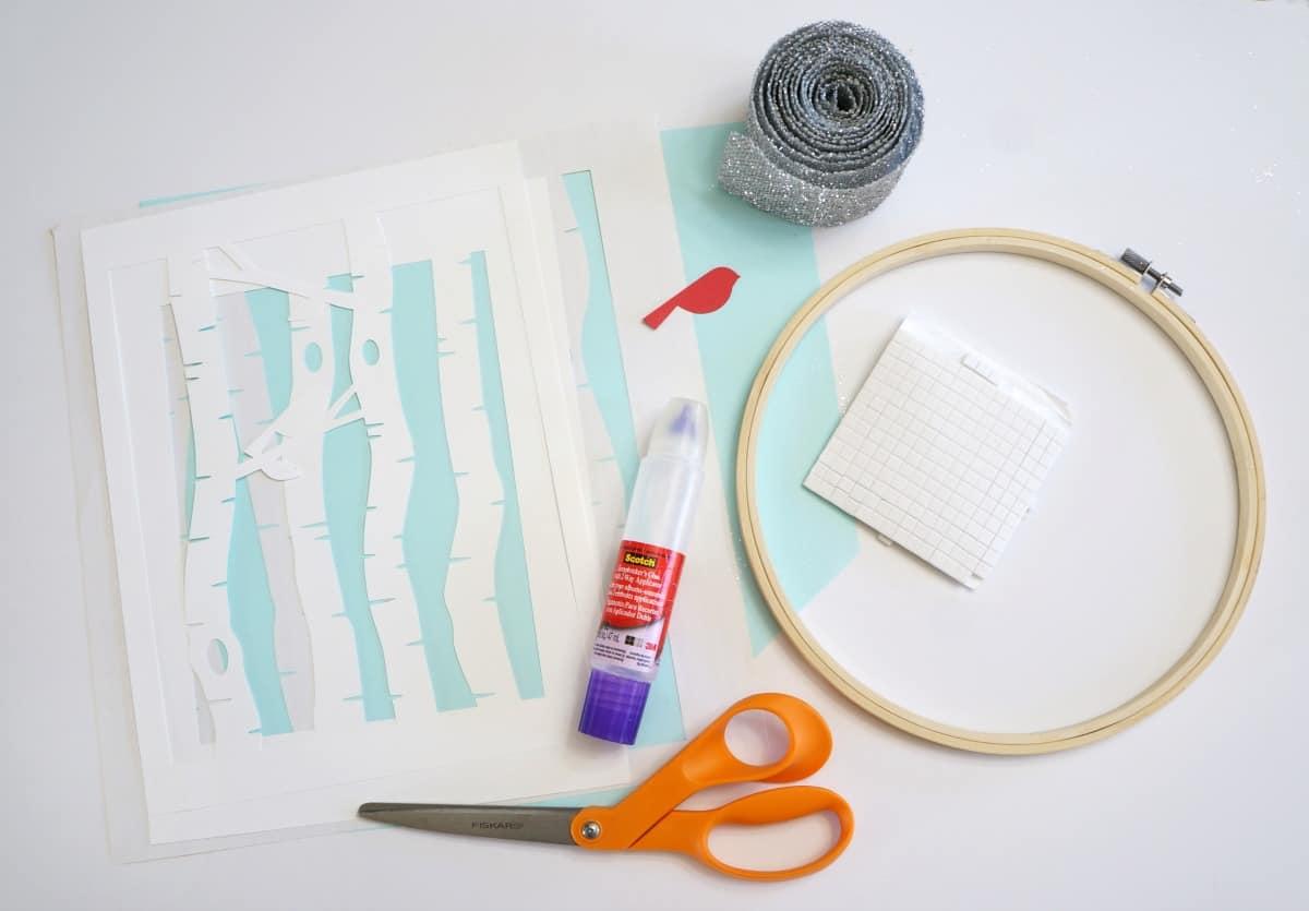 Winter Scene Paper Hoop Art supplies