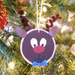 Wood Slice Reindeer Ornament