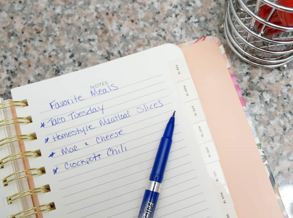 meal planning notes