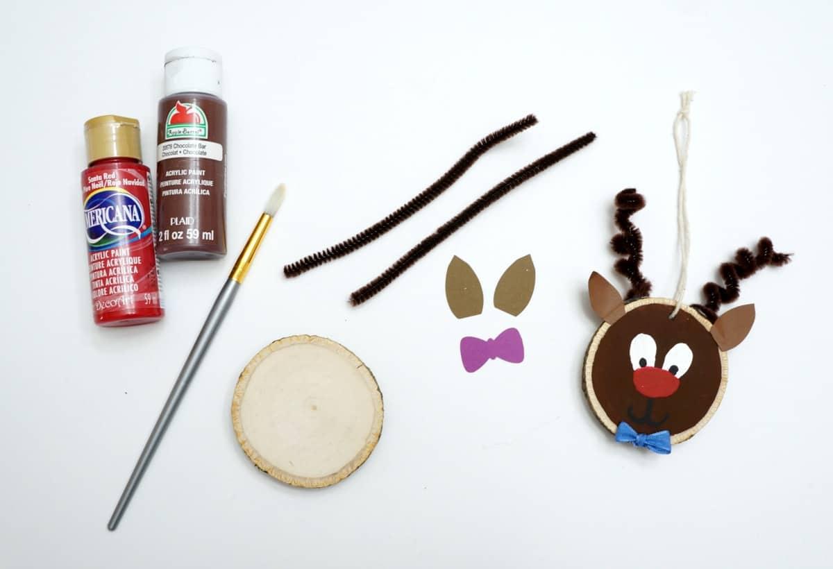 wood slice reindeer ornament supplies