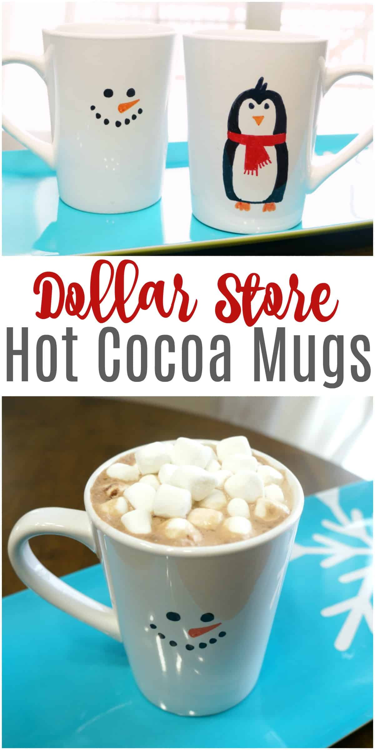 Draw these easy dollar store hot cocoa mugs
