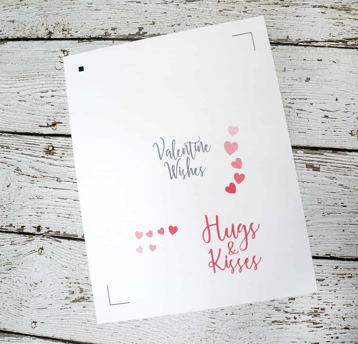 Easy Paper Valentine with Free Cut File - Hugs and Kisses