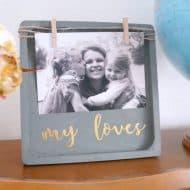 Wood and Gold Clothespin Frame