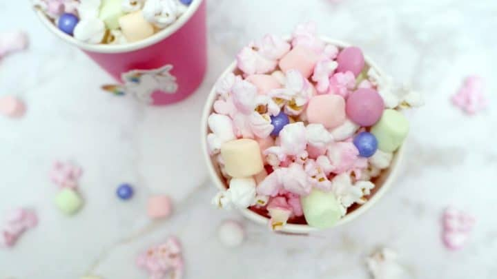 Unicorn popcorn recipe in pink cups
