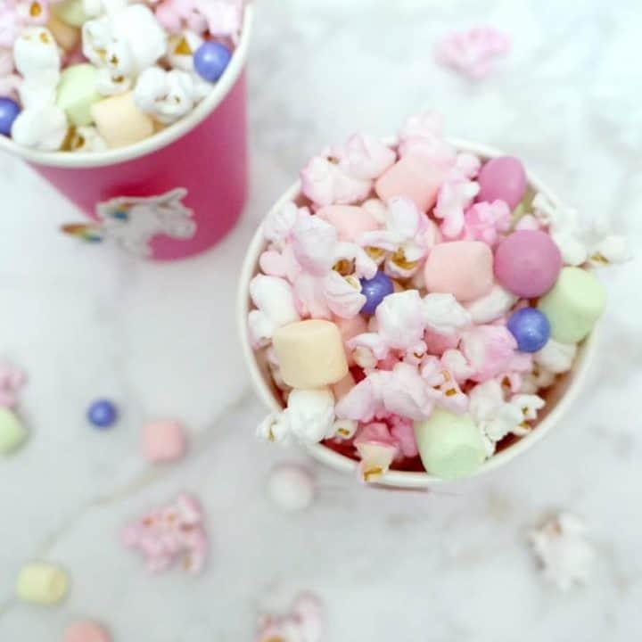 Unicorn popcorn recipe in pink cups