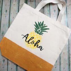 Aloha pineapple canvas beach bag
