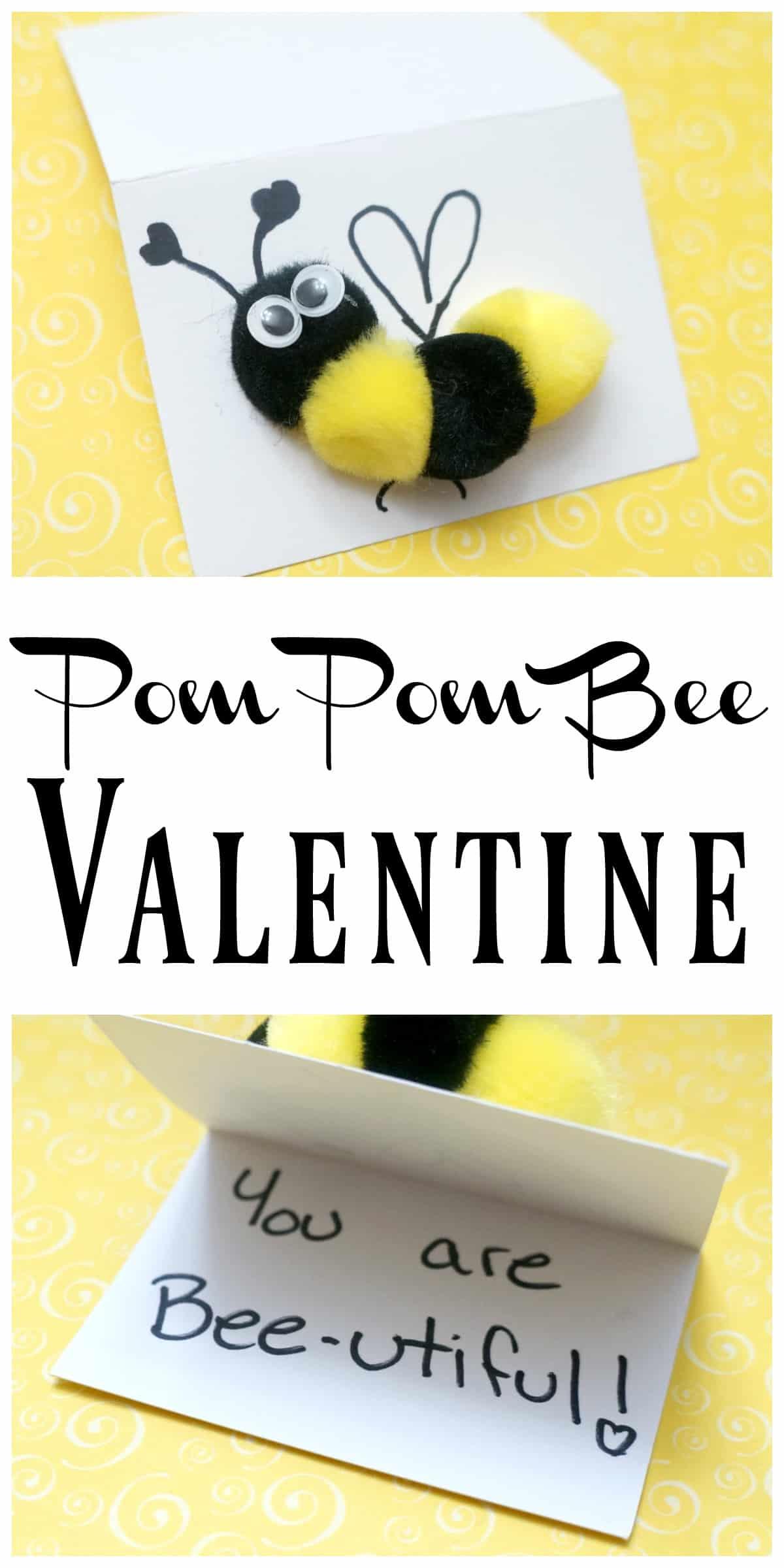 How to make a pom pom bee Valentine