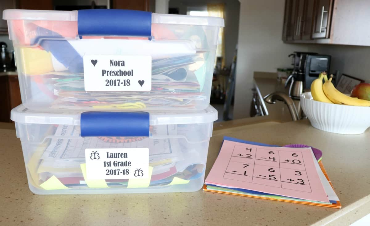 Organize school papers using bins