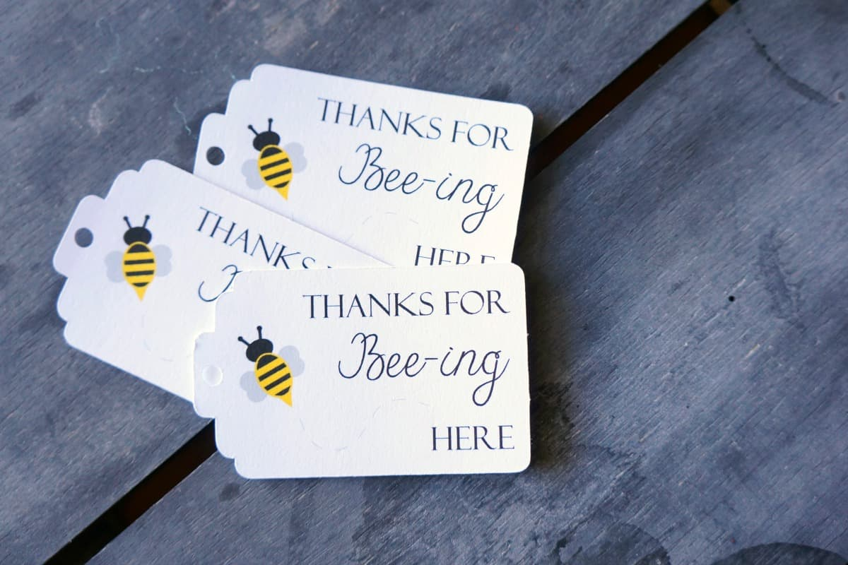 Thanks for beeing here bee party favor tag
