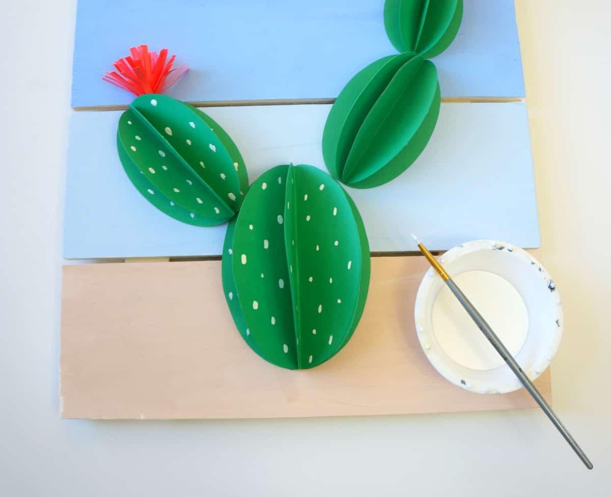 paint on a paper cactus pallet art