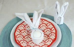 Easter bunny napkin fold two ways