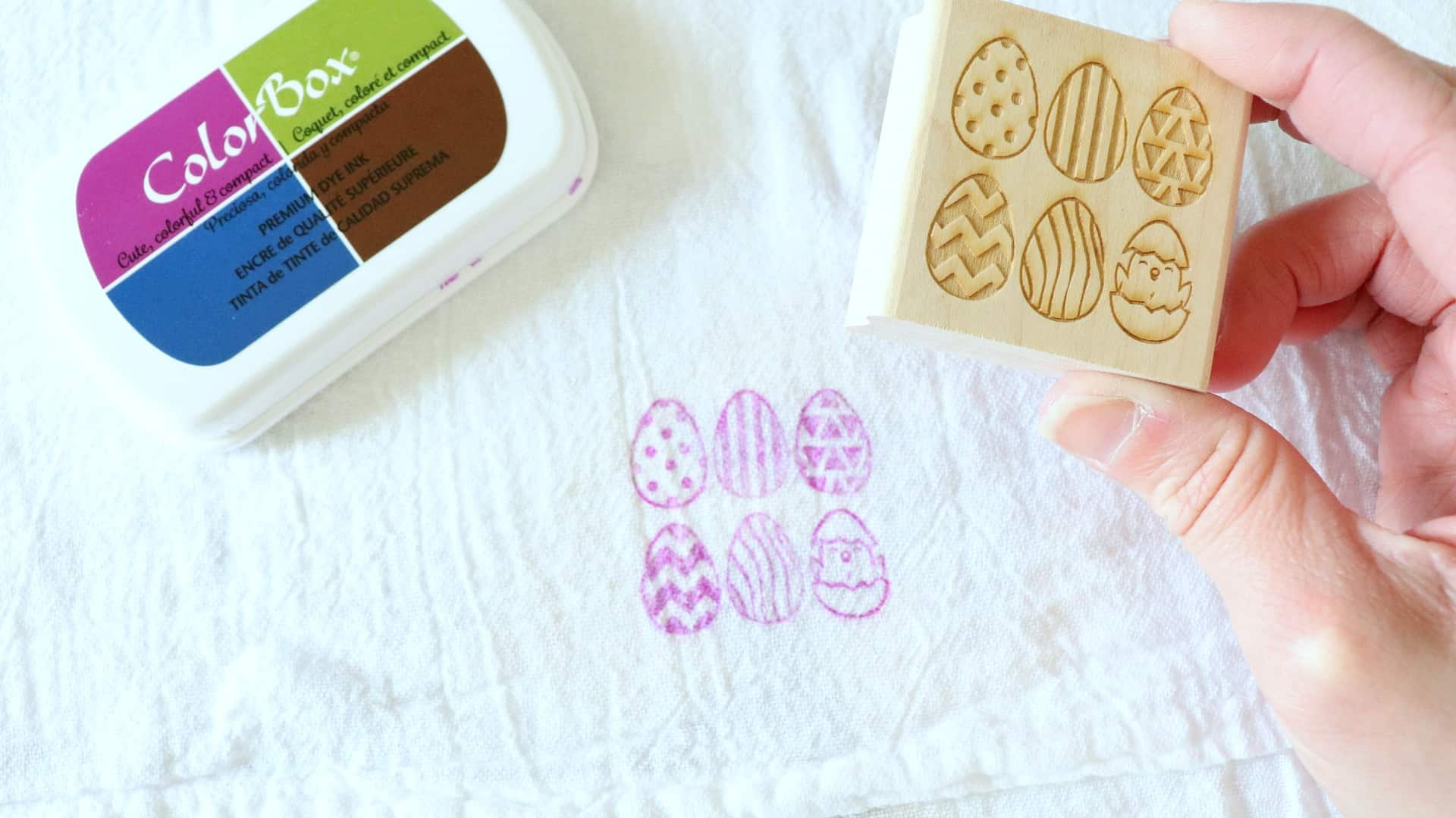 How to stamp fabric easter towel