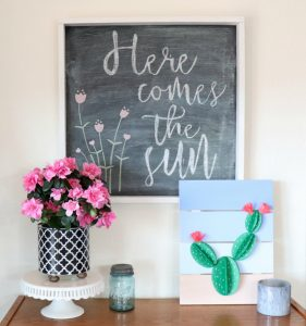 Spring vignette with coffee can planter