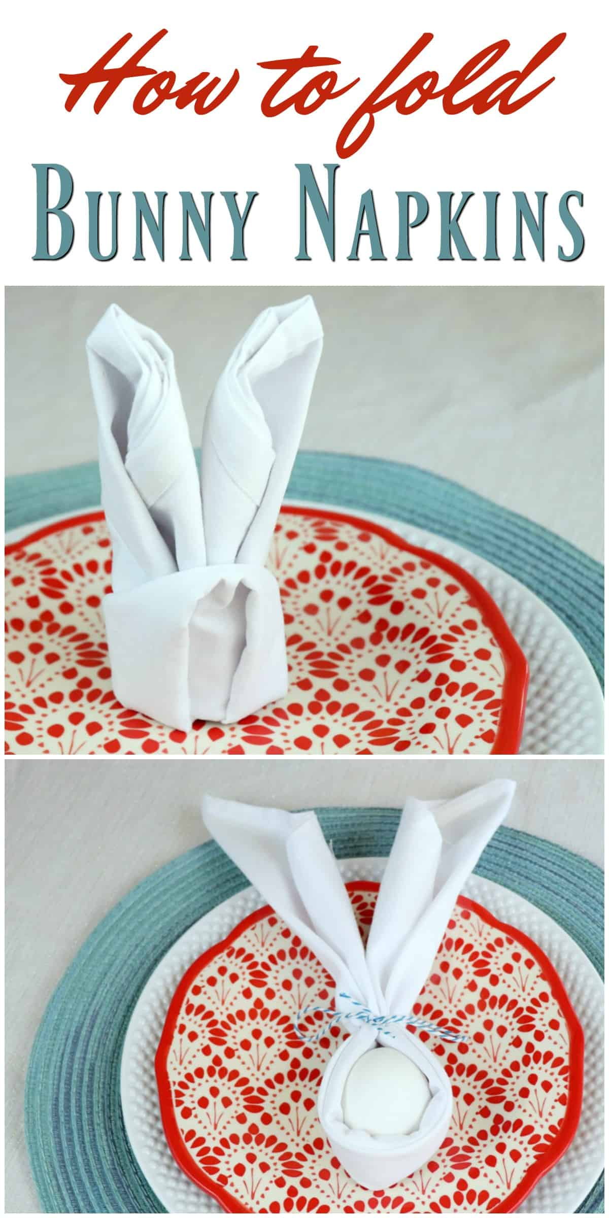 how to fold bunny napkins 2 ways for Easter