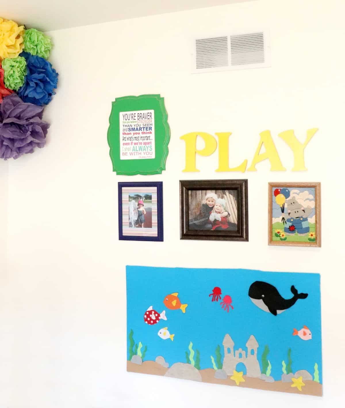 Aquarium flannel board in playroom