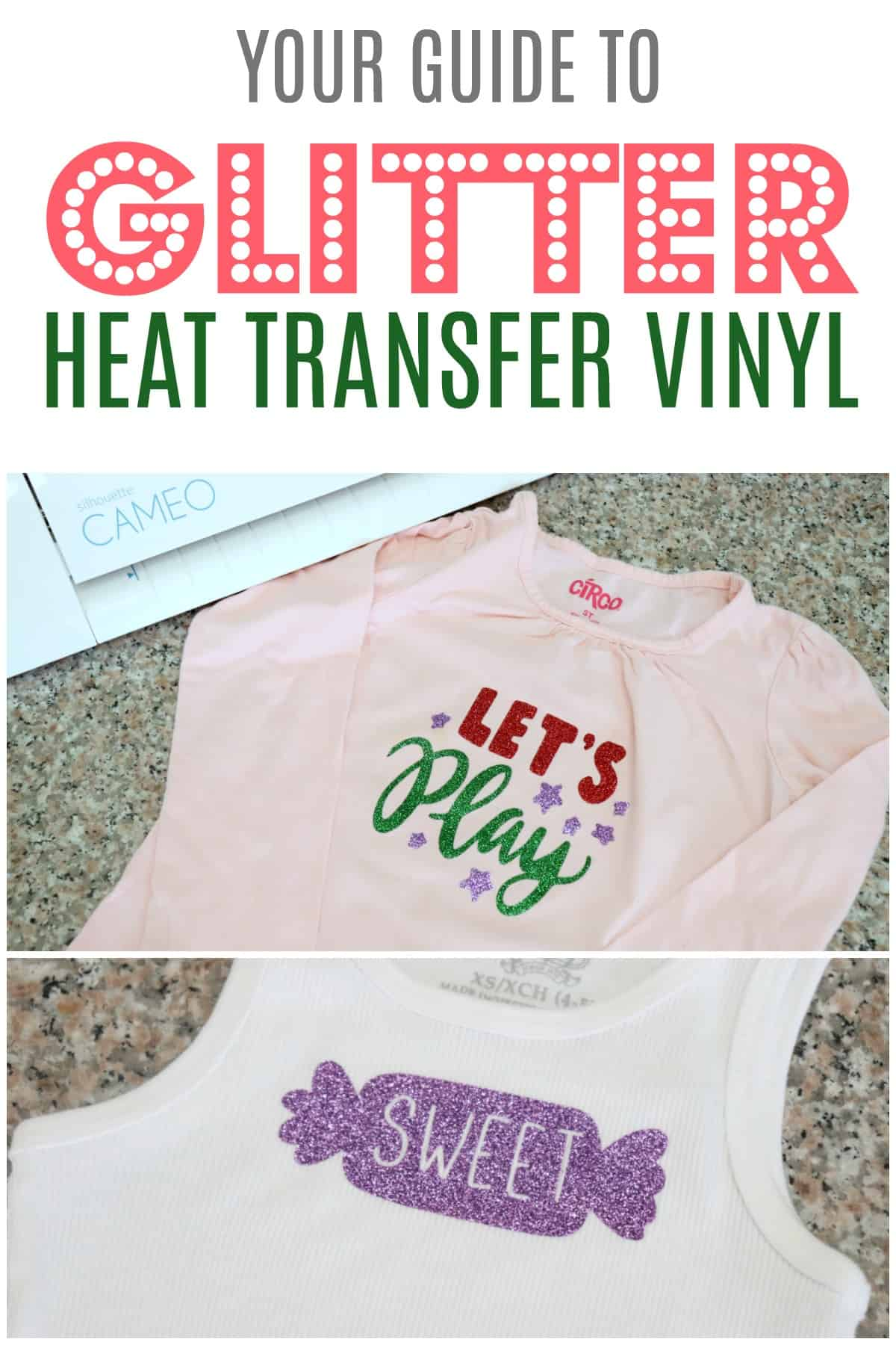 Learn how to cut and layer glitter heat transfer vinyl