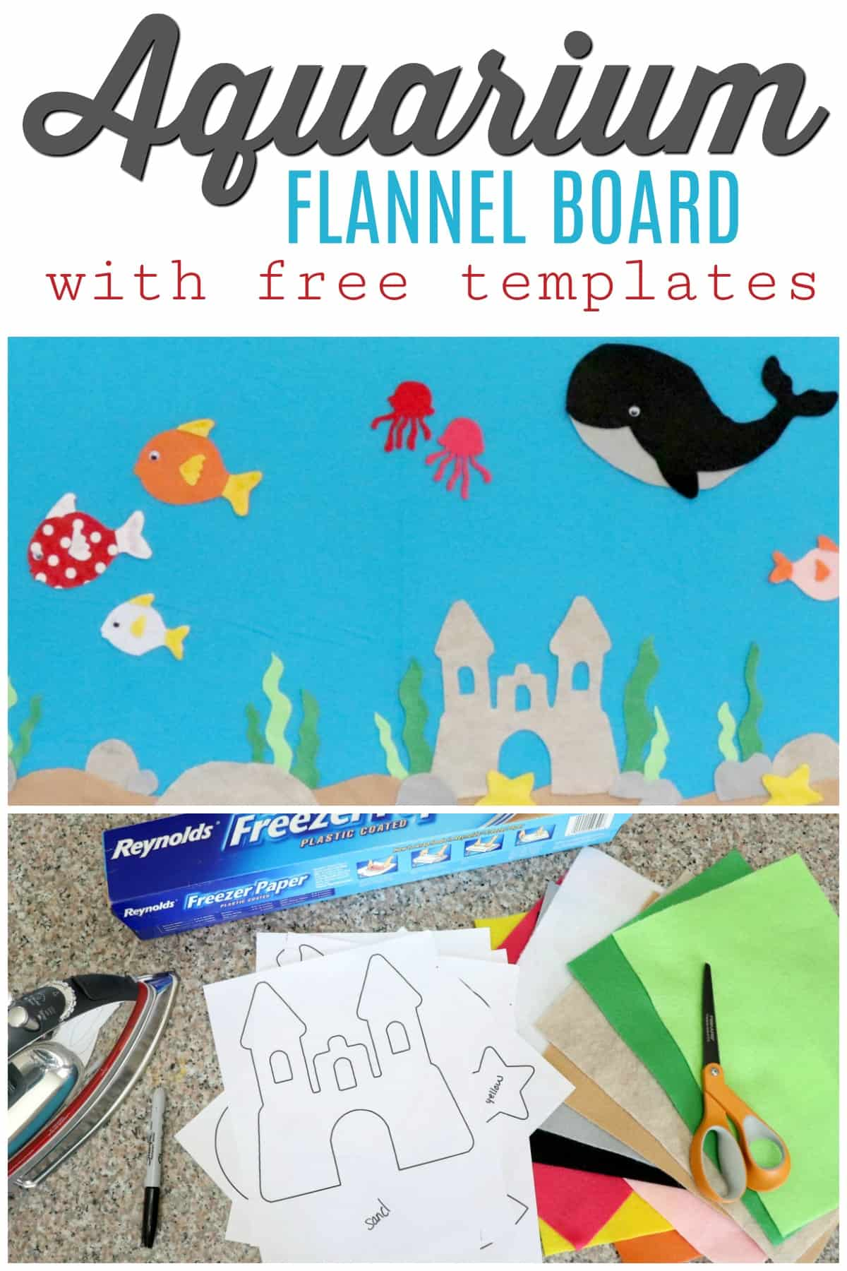 Learn how to make this aquarium flannel board with free templates